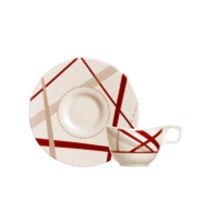 Luminarc H3530 Cup With Saucer 22 Pc Set White & Red