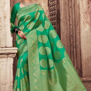 ORIGINAL INDIAN JULAHAA SHRAVANTI KATAN SAREE GREEN