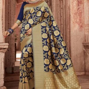 ORIGINAL INDIAN JULAHAA SHRAVANTI KATAN SAREE NAVY BLUE